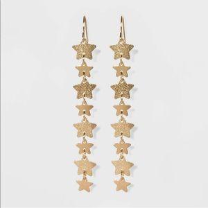 NEW Wild Fable Goldtone Star Dangle Earrings